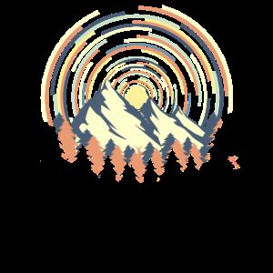 Geometrischer Gebirge Sonnenaufgang Shirt