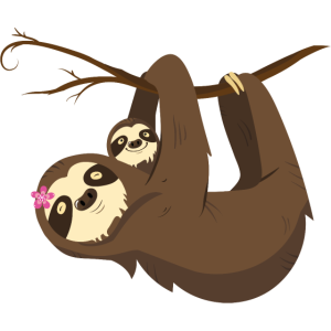 Mama Sloth With Baby