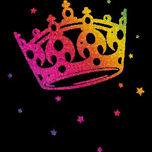 Krone Glitter Regenbogen Love CSD LGBT