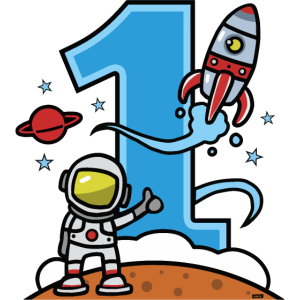 Astronaut Rakete 1 Geburtstag HARIZ Kind Baby 1 Ge
