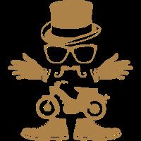 Charakter Schnurrbart Hut Moped