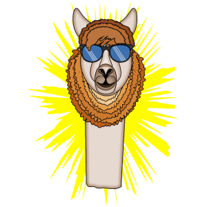 Lama mit auffälliger Brille am Glanz