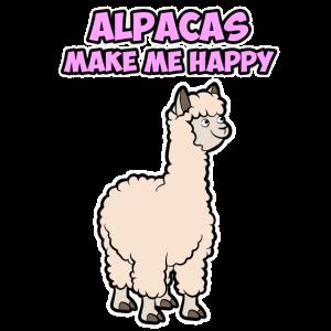 Tier Alpacca make me happy Lama Damen Herren Kids