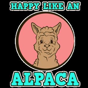 Tier Happy like an Alpacca Lama Damen Herren Kids