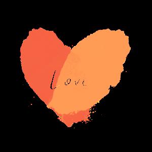 Heart love Watercolor / Wasserfarben in Korall