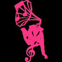Grammophons Charakter legged Frau