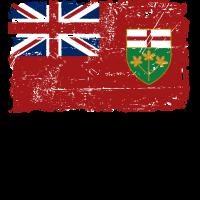 Ontario Flag - Canada - Vintage Look
