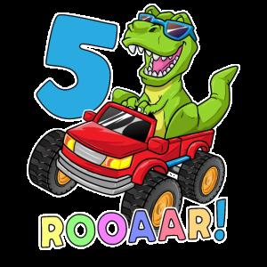 5 Jahre Dino Geschenk Monstertruck 5. Geburtstag