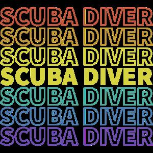 Scuba Diver Retro Style Farben Geschenk