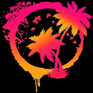 Bunte Beach Sommer Palmen im Kreis