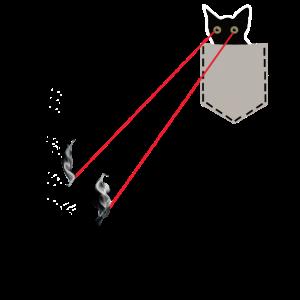 Katze in Brusttasche mit Laser Augen