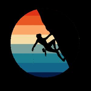 Klettern Kletterer Climber Sportklettern Retro