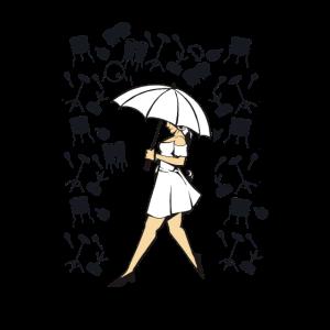 Schöne Dame mit Schirm Musikinstrumente regnen