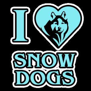 Winter I love Snow Dogs Herz Hunde Damen Herren