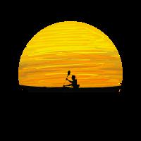 Kanufahren Paddeln Angeln Sonnenuntergang