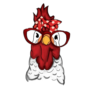 Rooster Hen Chicken Bandana und Glasses Farmer