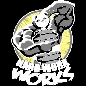 Pandabär Panda Fitness Muskeln Hantel Hard Work