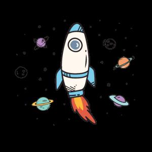 Endlich Schulkind Rakete Weltraum Planeten