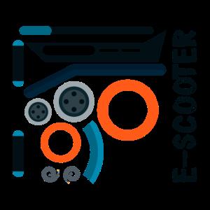 Auseinander gebauter Escooter