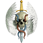 Winged Skull & Sword Colour