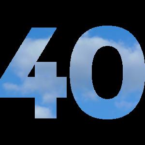 Die Zahl 40 Geburtstag mit Himmel und Wolken
