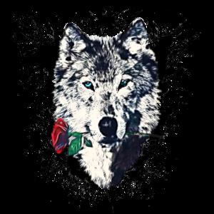 Wolf mit Rose, Love Symbol, Wölfe, Freiheit