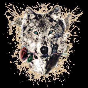 Wolf mit Rose, Love Symbol, Wölfe, Natur