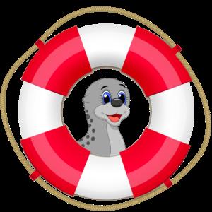 Seehund süß Rettungsring Nordsee Seal