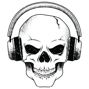 Totenkopf DJ Musik Kopfhörer Skull Music Techno
