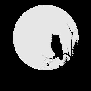 Mond mit Eule im Wald, Nacht, Halloween Geschenk