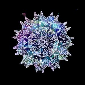Mandala Federn dunkelblau