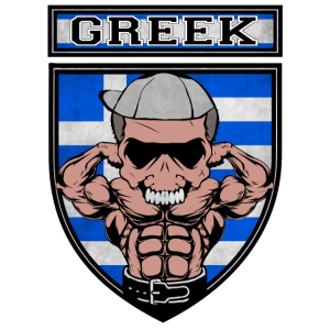 Greek Muscle. Greek Fighter Power. Greek Flag