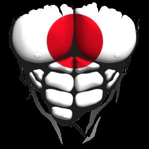 Japan-Flagge muskulösen Oberkörper Körper abs 1