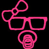 Nerd Geek Schleife Hornbrille Schnuller Mädchen Gi