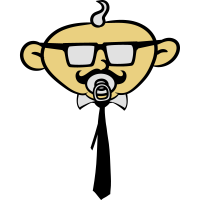 Schnuller Geek Nerd Hornbrille Gesicht Krawatte Ju