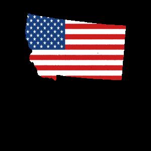 Staatsflagge des Montana-Vintagen MT-Karten-Geschenks