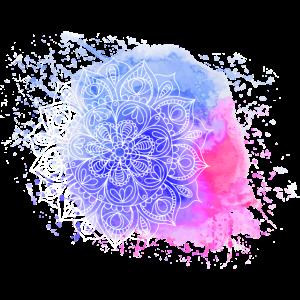 Aquarell Mandala Blau Magenta