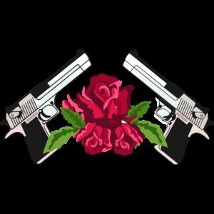 Waffe Gun Rose Waffen n Rosen T-Shirt