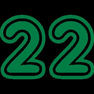 Green College Numers, College Zahlen, Nummern, 22