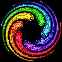 Regenbogen 7 Chakra Wirbel Spirale Yoga Symbol