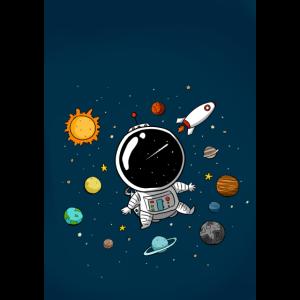 kleiner Astronaut im Weltall - Doodle