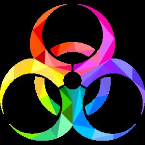 biohazard, colors, triangles, danger sign, bunt