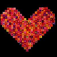 Rotes Herz aus Karos