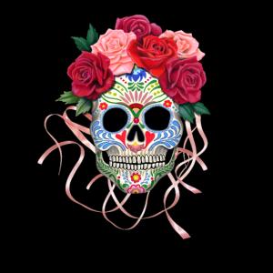 Mexikanischer Schädel mit Rosen - Mexikanischer Rosen-Schädel