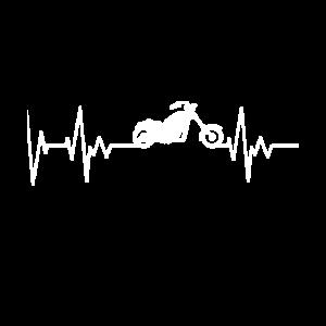 Chopper Motorrad EKG Herzschlag Motorradfahrer