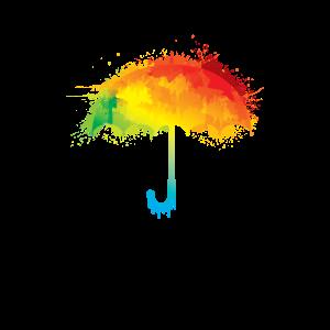 Bunter Regenschirm Regenbogen Farben Umbrella