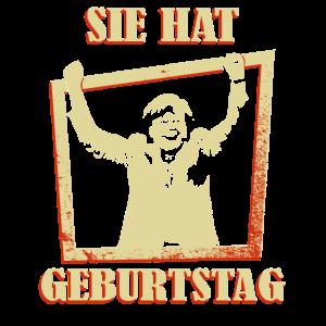 Sie hat Geburtstag Merkel jubelt