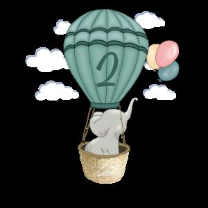 Ballon Baby Elefant 2. Geburtstag