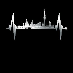 Hamburg Herzschlag Skyline Hamburger Hafen Silber