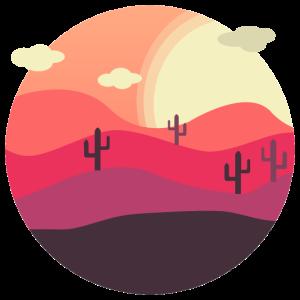 Landscape Desert Retro Flat